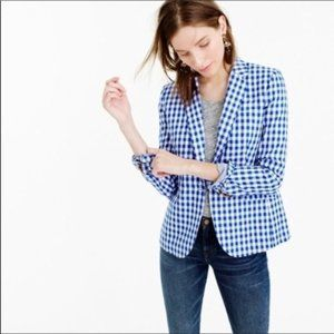 NEW J Crew Campbell Blue Blazer In Gingham NWOT
